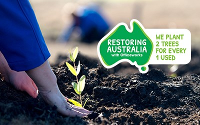 Officeworks launches the Restoring Australia program to plant two trees for every one tree used